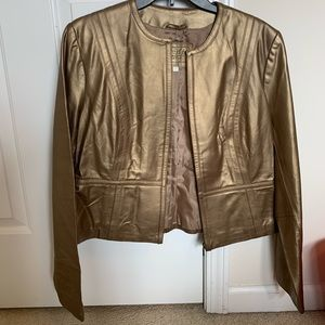 Golden leather zip up jacket